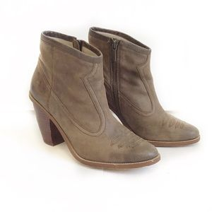 Hinge-Tan Distressed Leather Western Style Boots